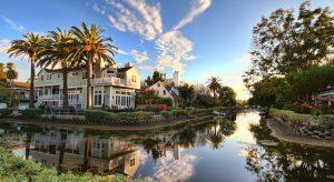 Suburban houses near canal, Venice, Los Angeles, California, USA
